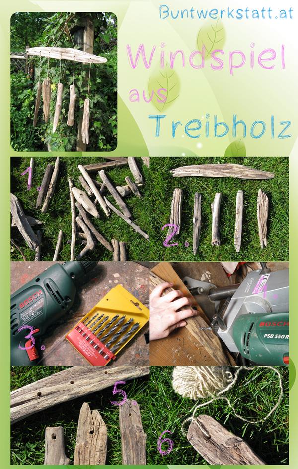 Windspiel aus Treibholz Anleitung
